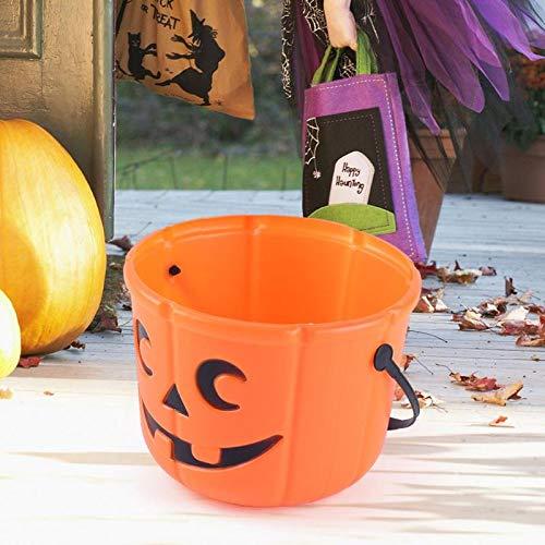 (YARNCORP-Seasonal Décor-3D DIY Halloween Pumpkin Bucket Children Kids Portable Pumpkin Candy Pail for Kids Children Halloween Decoration Supplies)