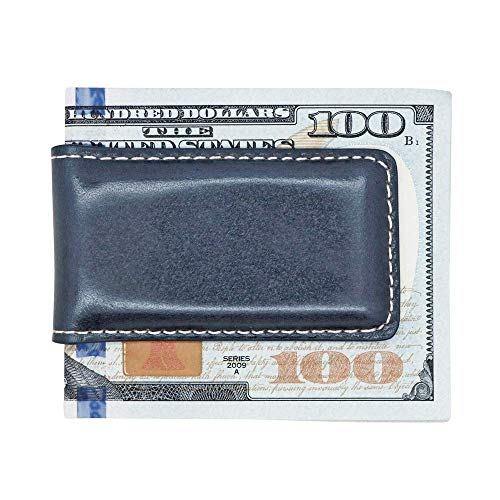 Navy Blue American Saddle Genuine Leather Money Clip - Magnetic - American Factory Direct - Money Holder - Made in USA by Real Leather Creations FBA1067