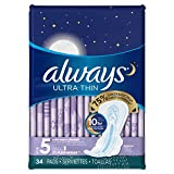 Always Ultra Thin Pads Extra Heavy Overnight with Flexi-Wings Unscented, 34 Count- Packaging May Vary