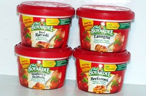 Chef Boyardee Beef Meatballs - Chef Boyardee Variety Pack Microwavable Bowls 4 Pack (7.5 Oz. Each) - Beef Ravioli, Spaghetti & Meatballs, Beefaroni, Lasagna - Small Storage Space Friendly!