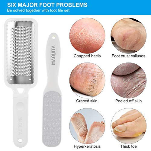 MAQUITA Foot Files, Premium Stainless Steel Foot Files Dead Hard Skin Remover Scraper Pedicure Foot Care Tool with 5 Replacement Sandpaper for Dead, Hard Cracked Dry Skin