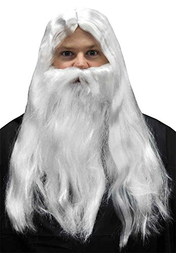 UHC Merlin White Long Santa Claus Wig Beard Set Wizard Costume Accessory (Merlin Wig And Beard Set)