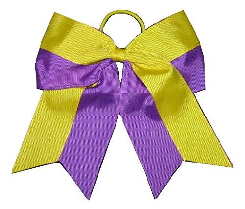 new-two-tone-yellow-purple-cheer-bow-pony-tail-3-inch-ribbon-girls-cheerleading-dance-practice-footb