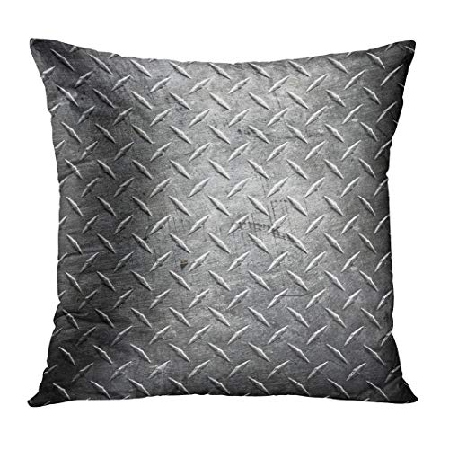 TOMKEYS Throw Pillow Cover Silver Steel Metal Diamond Plate Abstract Industrial Iron Floor Decorative Pillow Case Home Decor Square 16x16 Inches Pillowcase ()