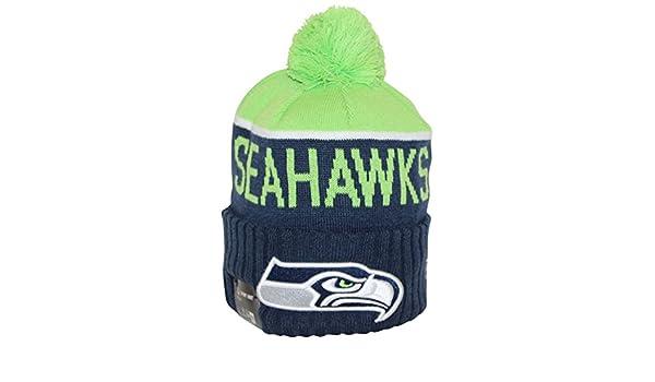 d21c475b043 Amazon.com  New Era NFL15 On-Field Sport Knit Seattle Seahawks Green Navy  Pom Beanie  Clothing