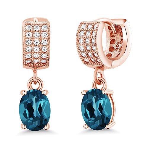 Gem Stone King 3.27 Ct Oval London Blue Topaz 18K Rose Gold Plated Silver Earrings