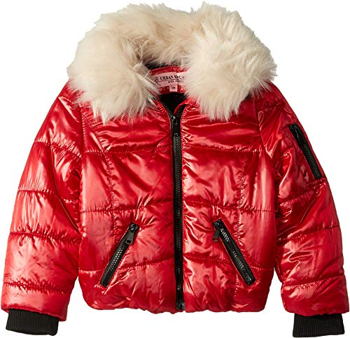 - Urban Republic Kids Girl's Emma Puffer Jacket w/Cream Faux Fur Collar (Little Kids/Big Kids) Red 14