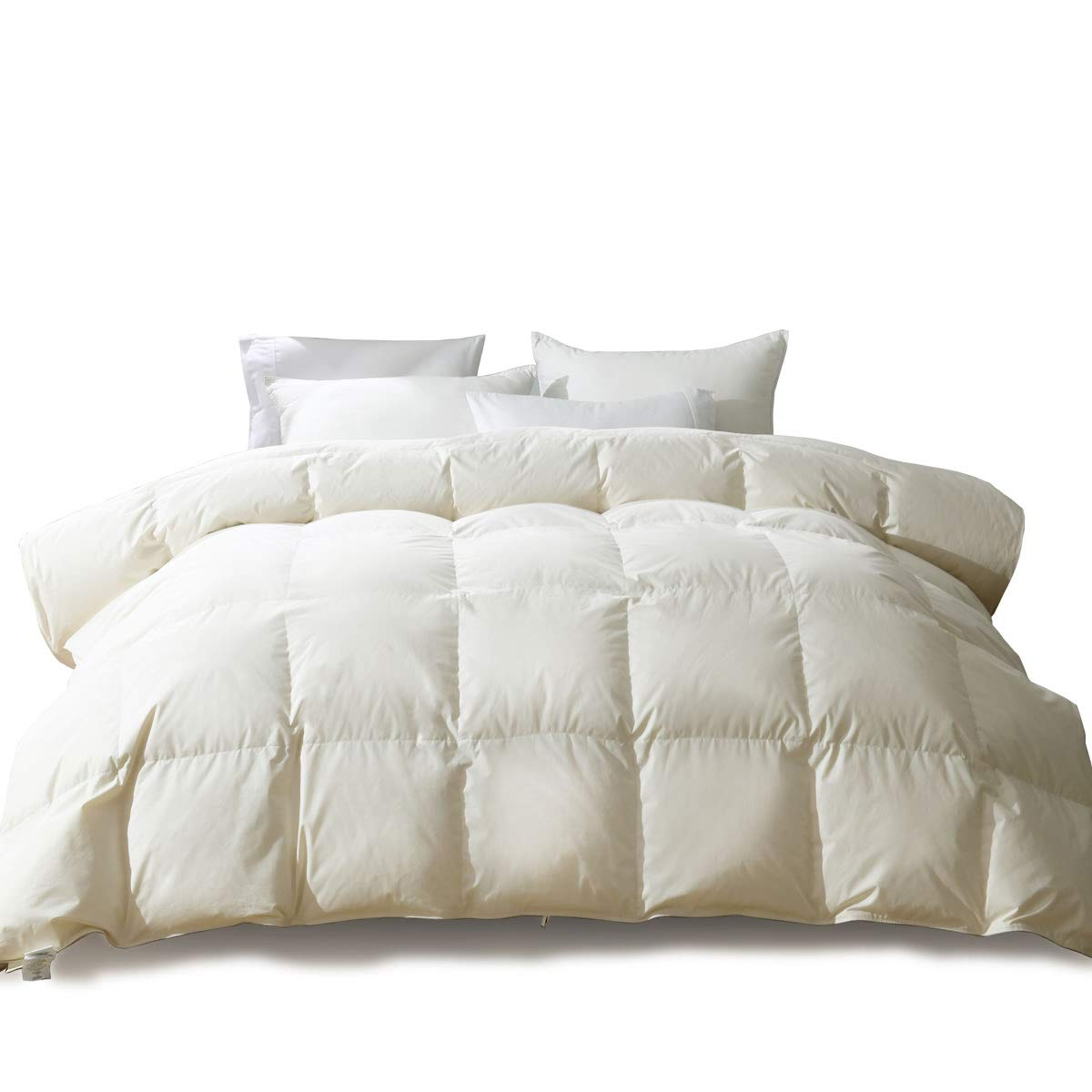 APSMILE Luxury 100% Organic Cotton All Season Goose Down Comforter King Size Hypoallergenic Medium Warmth Duvet Insert, Beige White