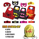 Superhero Capes for Kids with Masks & Wristbands-4 Capes for Boys & Girls with String Bag Pack. Pretend Play Halloween Costume Gift or Party Supply Characters-Spiderman,Batman,Bat Girl & Wonder Woman