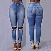 JaneDream The New Fashion Popular Element Hole in Jeans Denim Long Pencil Pants Sexy Ripped Design M