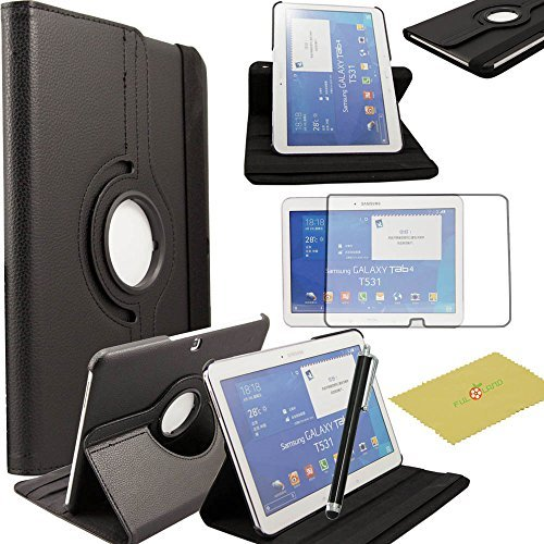 """Tab 4 10.1 case, Fulland Case for Samsung Galaxy Tab4 10.1"""" T530 T531 T535 Tab 4 PU Leather 360 Rotating Stand Cover with Screen Protector+ Stylus -Black"""