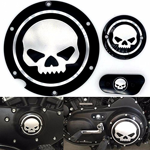 Timer Cover (Motorcycle Black Chrome Skull Timing Accessories Engine Derby Timer Cover For Harley Sportster Iron XL 883 1200 04-14 (Pack of 3pcs))