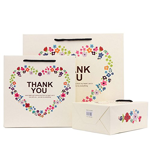 Thank You Gift Bags with Handles Floral Heart Birthday Christmas Valentines Day Gifts Paper Bags Medium, 7.9x3.2x7.9