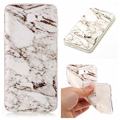 for Galaxy J7 V Case, Galaxy J7 Perx Case, Galaxy J7 Sky Pro Case, Galaxy Halo Case, J7 2017 Case, AUSURE Unique Marble Pattern Slim Shockproof Flexible TPU Soft Rubber Premium Case Cover (White)