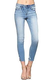 addaf0cd9121a2 Flying Monkey Vervet by Jeans Chantelle Mid Rise Raw Hem Ankle Skinny Side  Slit Light Wash