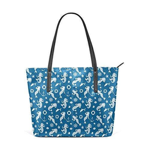 COOSUN Sirenas Modelo determinado Azul marino PU de cuero bolso monedero y bolsos de la bolsa de asas para las mujeres Medio muticolour