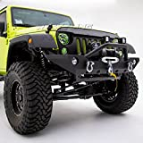 Restyling Factory -Black Textured Front Bumper With Fog Lights Hole & 2x D-Ring & Winch Plate for 07-17 Jeep Wrangler JK