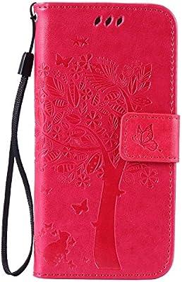 pinlu® Flip Funda de Cuero para Huawei Ascend P7 Carcasa con Función de Stent y Ranuras con Patrón de Gato y Árbol Cover (Rosa roja)