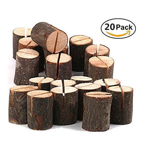 20 PCS Rustic Wood Table Numbers Holder Stump Memo Clip Holder Picture Memo Note Photo Clip Holder Party Decorations Wedding Table Name Card Holder Message - Tree Place Card