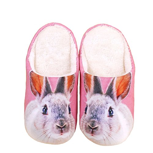 [Happy E-life Unisex Cute 3D Cartoon Pattern Winter Warm Thick Slippers Rabbit 7.5/8] (Rabbit Costume Pattern)