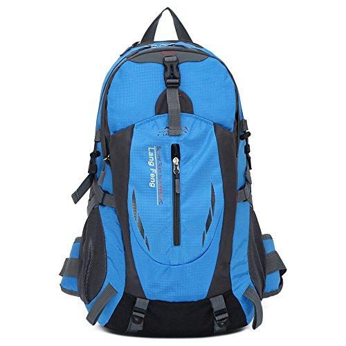 Wewod Gran Capacidad 35L multifuncional Mochila Viaje Resistente al Agua para Montañismo Senderismo Equitación Escalada Viaje Mochila (Negro) Azul