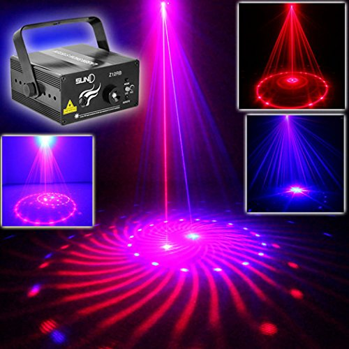 SUNY 12 Gobos Effect Red Blue Laser Blue LED Sound Active Remote Control DJ Disco Bar Home Show Carnival Party Stage Light Professional Projector Z12RB
