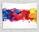 paint colors for living rooms Ambesonne Abstract Tapestry by, Vibrant Stains of Watercolor Paint Splatters Brushstrokes Dripping Liquid Art, Wall Hanging for Bedroom Living Room Dorm, 80 W X 60 L Inches, Red Yellow Blue