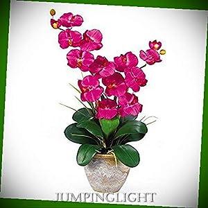 JumpingLight 1026-BU Double Stem Phalaenopsis Silk Orchid Arrangement Artificial Flowers Wedding Party Centerpieces Arrangements Bouquets Supplies 89