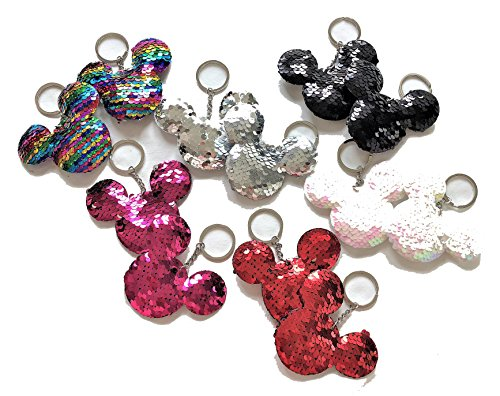 (12 pieces Sparkly BLINK Plush Sequin Key Chain Appeal Backpack Bag Accessories 3 inches Keychain (Mickey Shape))