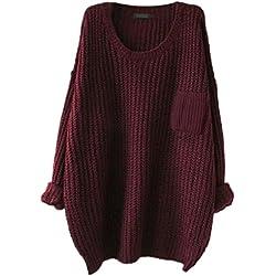 Women's Casual Unbalanced Crew Neck Knit Sweater Loose Pullover Cardigan (Burgundy)