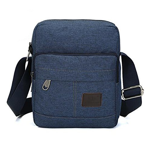 Bag Casual Vintage Aiyil Boy Travel Multi Canvas Messenger Zipped For Business Bag Crossbody Messenger Blue Bag Pocket Men gfUFg