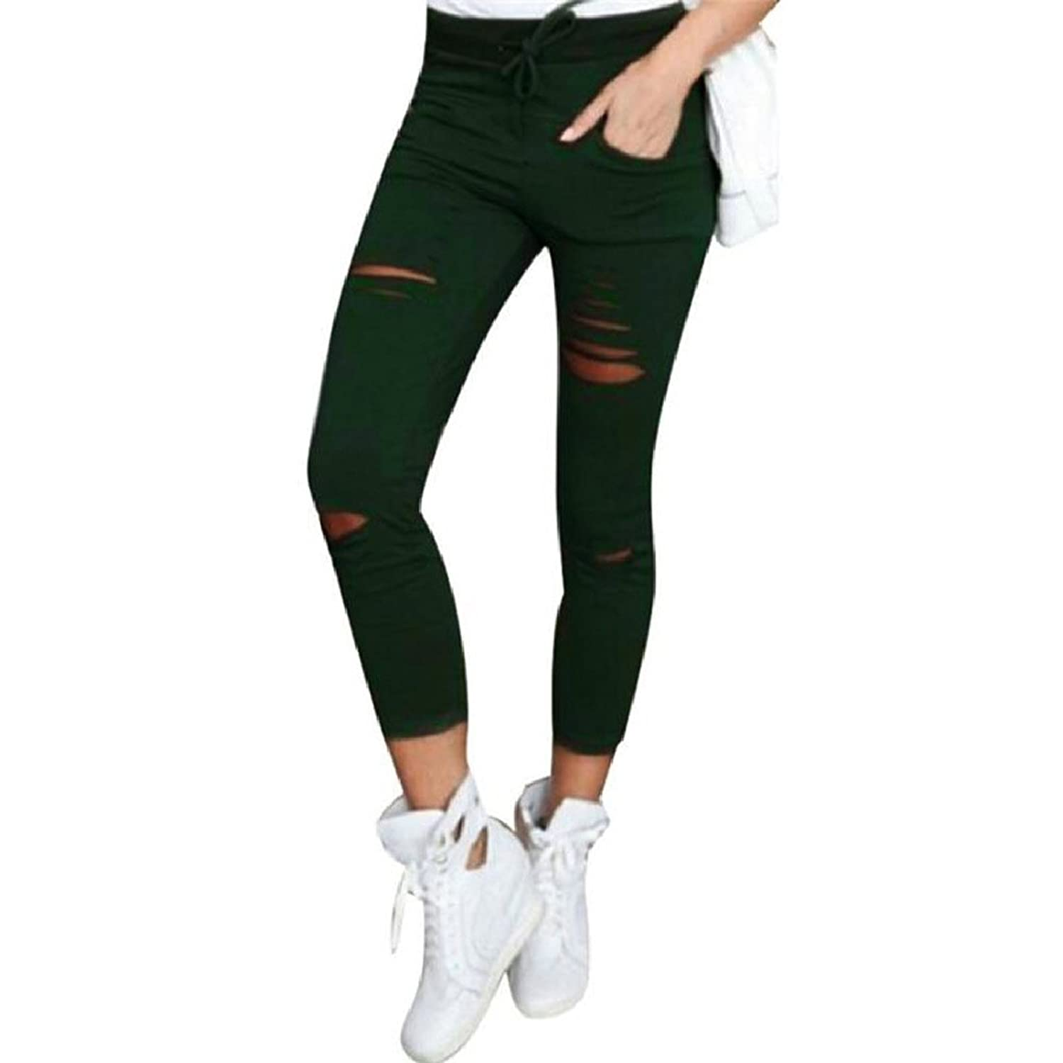 Abetteric Womens Skinny Trousers Slim Fit Highwaist Hole Pencil Pants