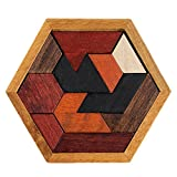 Sunny&Love 2018 Educational Puzzles Wooden Toys Tangram Jigsaw Board Geometric Shape Puzzle Toy (Random)