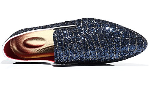 Blue Metallic Casual Fashion on Slip Smoking Loafer Glitter Moccasins Shoes Mens Dress Checkered Santimon Slipper Eqw6PP