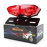 BOMPA Integrated LED Tail Brake Stop Turn Signal Light Smoke Lens with Red & Amber Light License Plate Bracket fit Most Motorcycles and Bikes
