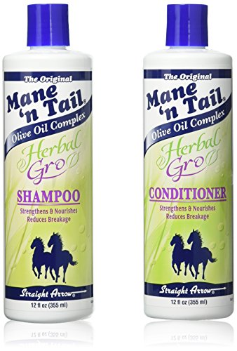 The Original Mane 'n Tail Olive Oil Complex - Herbal Gro Shampoo + Conditioner - Strengthens & Nourishes - Reduces Breakage - 12 Oz - 2-Pack