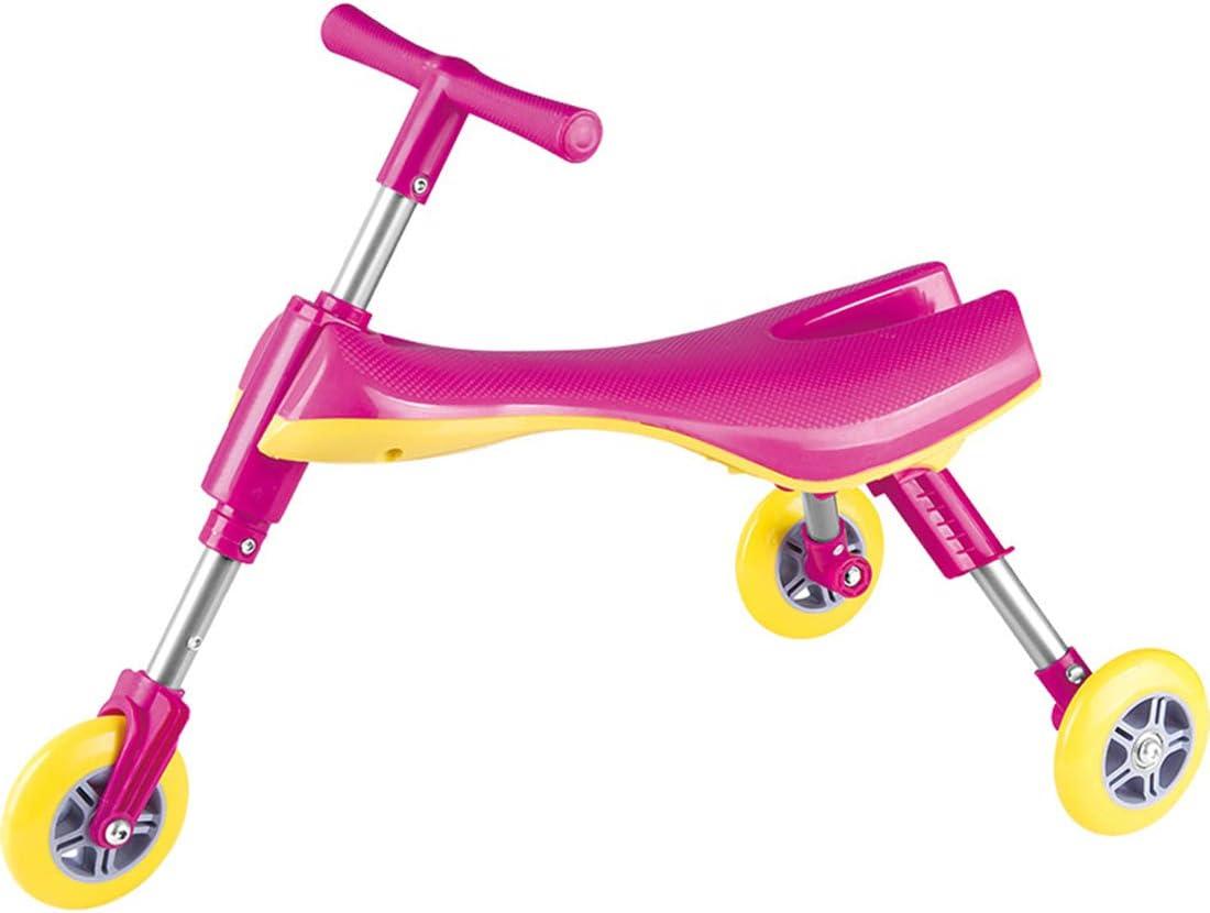 LWKBE Plegable Fly Bike Scooter Niños pequeños Glide Tricycle Ride On Toy Ruedas de PU No se Requiere configuración Sin Pedal Bicicleta de conducción Regalo para niños Regalo de cumpleaños,Pink