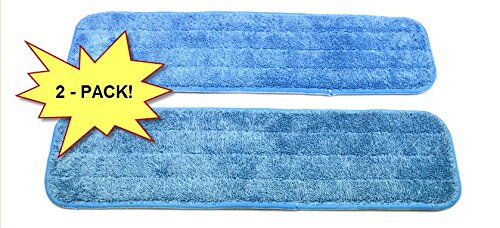 "2-pack Microfiber Mop Pads 18"" Wet/Dry Washable for Domestic/Commercial Application. Work great on all hard surfaces! Top quality, EXCLUSIVELY from Wellness Cleaning Supply."