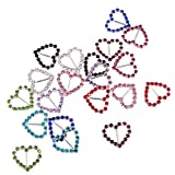 MagiDeal 20 Pieces Colorful Heart Shape Crystal Buckle Ribbons Slider for Wedding Invitation 15mm