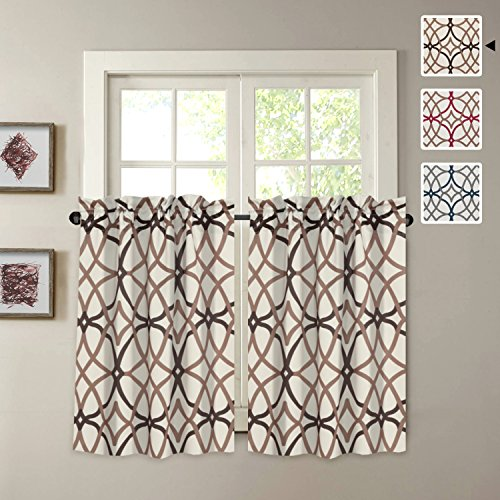 H.VERSAILTEX Blackout Energy Saving Ultra Soft Casual Kitchen Curtains, Rod Pocket Window Curtain Tiers for Café, Bath, Laundry, Bedroom - Taupe and Brown Geo Pattern - (58