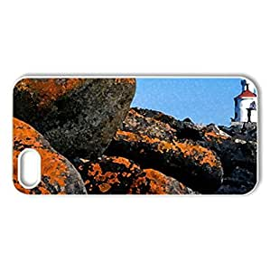wisconsin point lighthouse wisconsin lake superior - Case Cover for iPhone 5 and 5S (Lighthouses Series, Watercolor style, White)