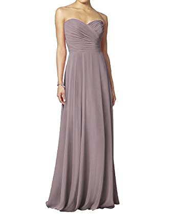 H.S.D Young Pleated Embellishment Breathable Chiffon Prom Gowns Grayish Purple