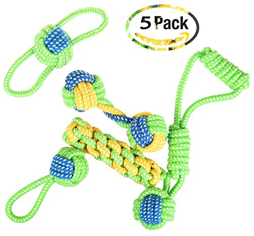 MOFAST 5 Packs Dog Toys for Aggressive Chewers Puppy Chew Toys Bundle Rope Toys for Small to Medium Dogs