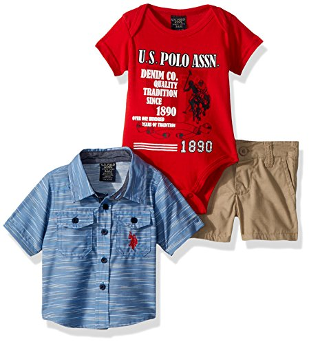 U.S. Polo Assn. Baby Boys Short Sleeve, T-Shirt and Pant Set, Over Over One Hundred Year of Tradition Multi Plaid, 12M ()