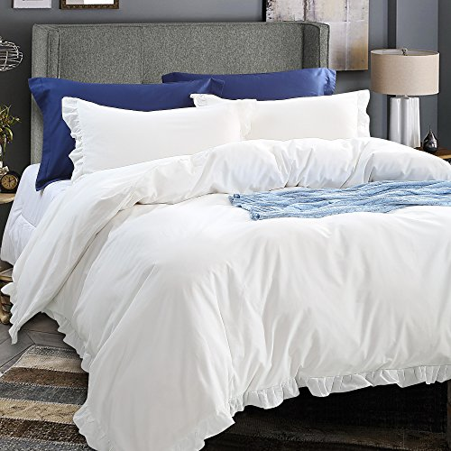 NTBAY 3 Pieces Duvet Cover Set Washed Cotton Solid Color with Exquisite Ruffles Design, Soft and Comfortable, Queen (Ruffle Duvet Covers)