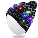 Qshell LED String Light Up Beanie Hat Knit Cap with Copper Wire Colorful Lights 15 LEDs for 6-12 Kids Indoor and Outdoor, Festival, Holiday, Celebration, Parties, Camping, Christmas Gifts - Black