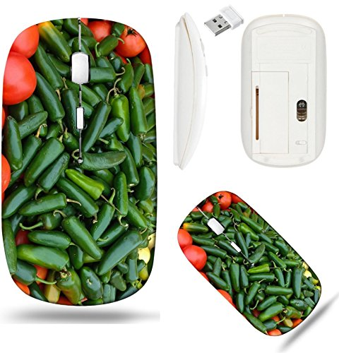(Liili Wireless Mouse White Base Travel 2.4G Wireless Mice with USB Receiver, Click with 1000 DPI for notebook, pc, laptop, computer, mac book ID: 23309249 Green Jalapenos and Red Tomatoes at the Marke)