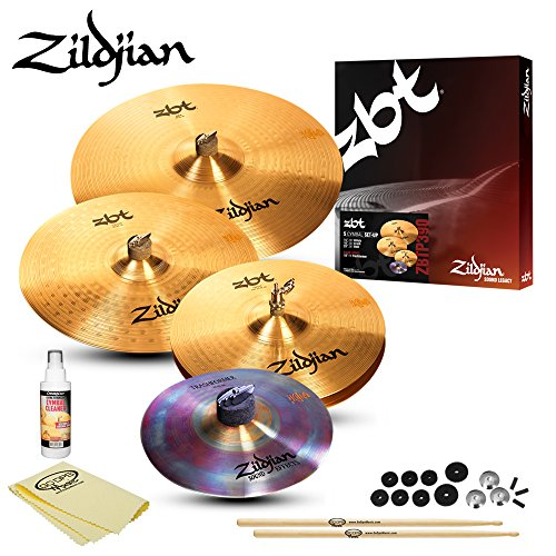 (Zildjian ZBT 5 Box Set (ZBTP390) Kit - Includes: Drumsticks, Felts, Sleeves, Cup Washers, ChromaCast Polish & Cloth)