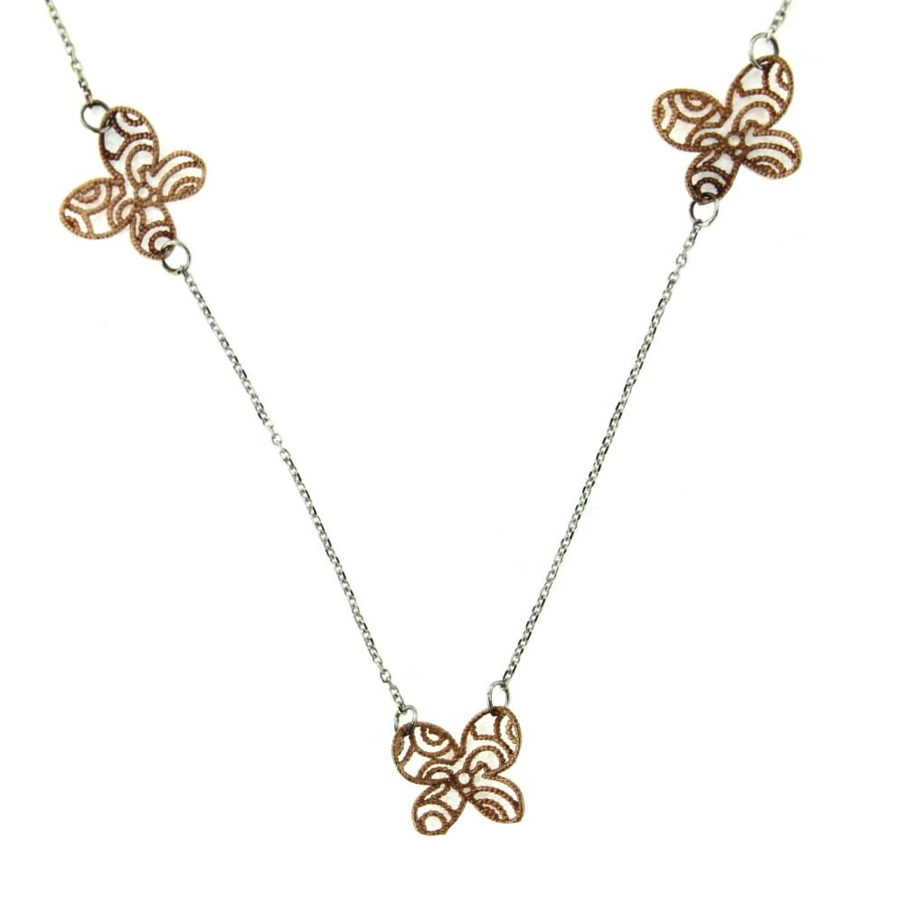 18kt White Gold and Pink Gold Butterfly necklace 16 inches