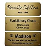 Size: 4'W x 1-1/2'H, Personalized, Custom Engraved, Brushed Gold Solid Brass Plate Picture Frame Name Label Art Tag for Frames, with adhesive backing or screws